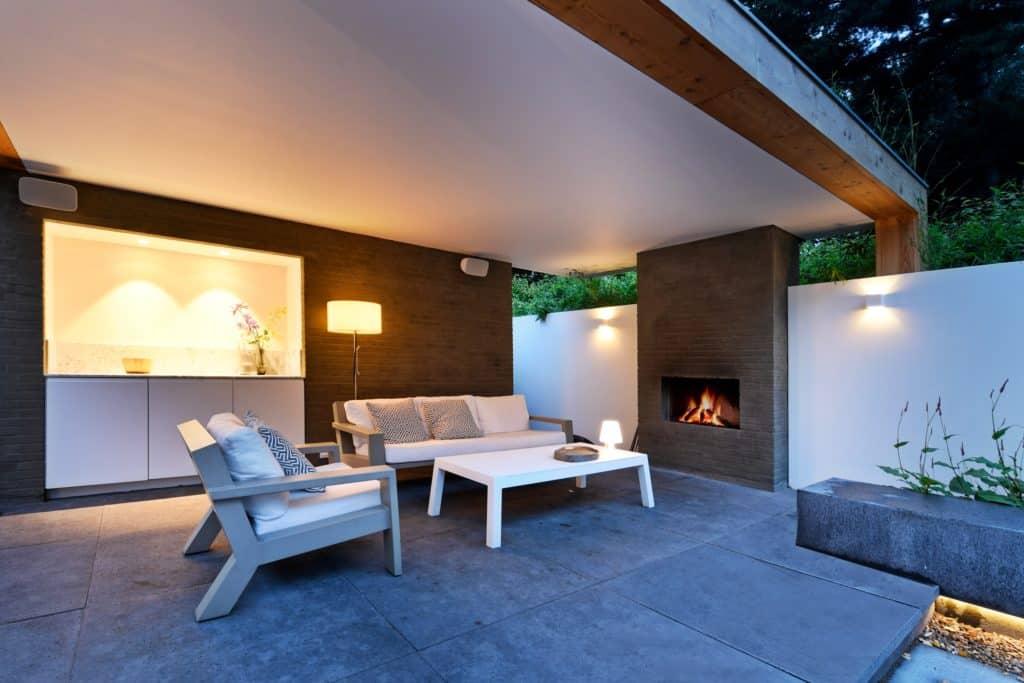 Moderne villa lichtplan terras