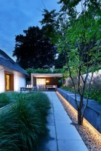 Moderne villa lichtplan tuin terras