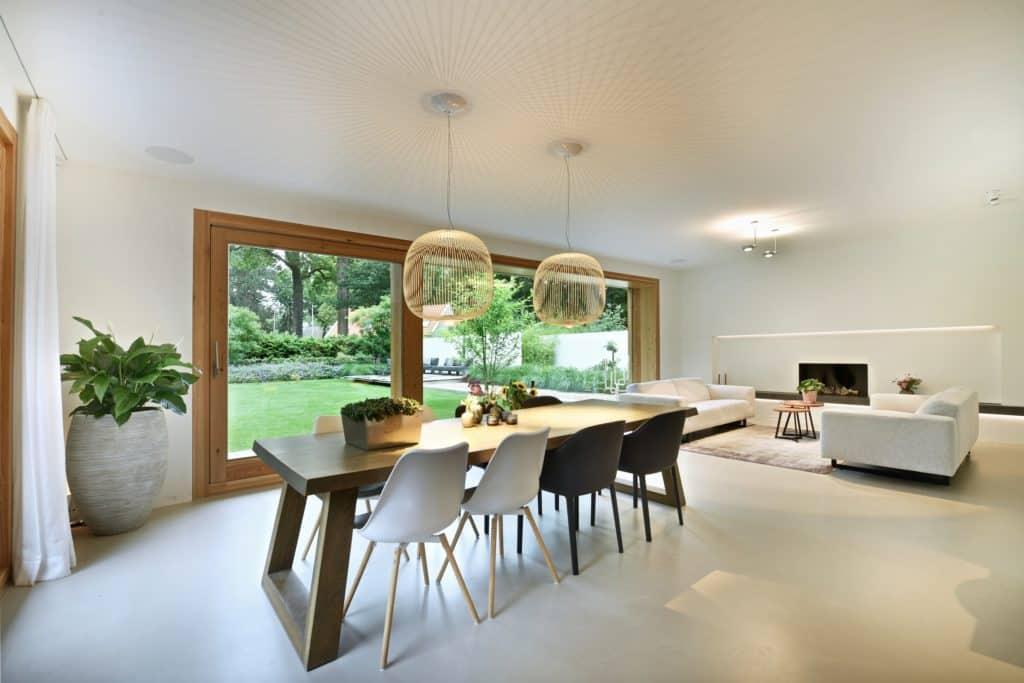 Moderne villa lichtplan woonkamer